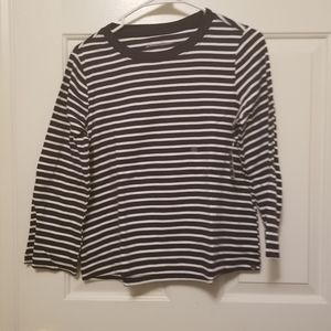 Eddie Bauer Navy Striped 3/4 Sleeve Top Cropped